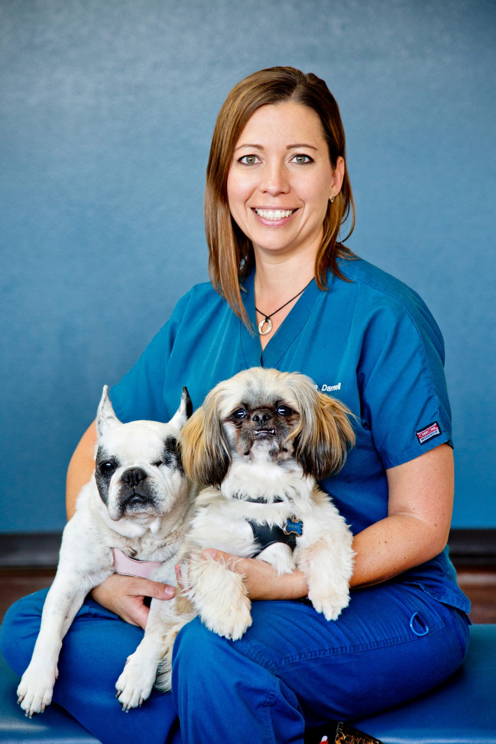 Dr. D and puppies resized to 300 pixels wide